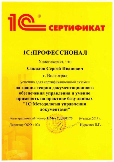 1С:Профессионал по методологии управления документами. Сикалов Сергей