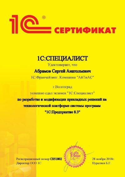 1С:Специалист по платформе 1С. Абрамов Сергей
